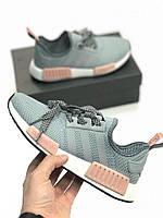 Кроссовки Adidas NMD Runner grey pink. Живое фото! Топ качество! (Реплика ААА+)