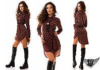 Платье-рубашка в клетку с боковым разрезом, цвета красное, бирюзовое, коричневое, серое, все размеры