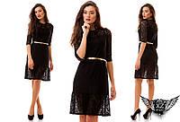 Платье гипюр гипюровое с ремнем, цвета черное, красное, бордовое, все размеры