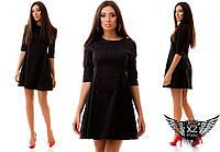 Платье жаккард до колена с гипюром, цвета красное, электрик, черное, все размеры