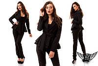 Женский костюм пиджак и брюки, двойная баска, цвета черный, красный, все размеры