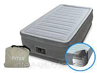 Надувна велюр-ліжко Intex з вбудованим електронасосом 191х99х46 (64412)