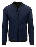 Оригинальная  мужская двусторонняя куртка Бомбер из полиэстера темно-синий M