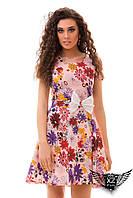 Платье коттон, лён с принтом цветов и пояс с бантиком, цвета ментоловое, желтое, пудры, электрик, все размеры