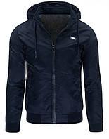 Куртка мужская переходная с капюшоном и трикотажной резинкой на манжетах и по низу изделия синий M