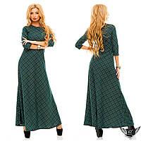 Платье в пол принтованое клетка цвета тёмно-зеленое, красное, бордовое, все размеры