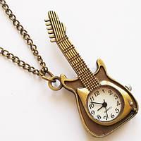 """Часы с подвеской """"Гитара"""" на цепочке (под бронзу)., фото 1"""