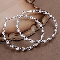 Серьги кольца ф 5 см ювелирная бижутерия посеребрение 1566