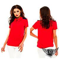 Женское поло, блуза с воротником под футболку, цвета красная, оливковая, синяя,  все размеры и другие цвета