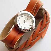 Женские наручные часы. Кожаный плетенный ремешок намотка (оранжевый).