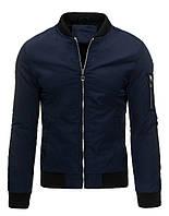Куртка мужская Бомбер на молнии, с низом, манжетами и воротником  из трикотажной резинки   темно-синий  XL