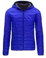Куртка мужская демисезонная стеганая с капюшоном отделанная по низу и низу рукава резинкой  синий  XXL
