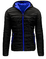 Куртка мужская переходная стеганая на молнии с капюшоном   черный  XXL