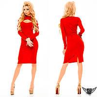 Платье с горлышком и вырезом на груди до колен с начесом, цвета черное, тёмно-синее, кирпичное, красное ...