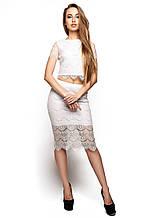 """Элегантная юбка-карандаш с высокой талией из красивого гипюра Виола молоко """"KR"""""""