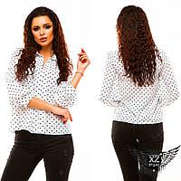 Блуза шифоновая с воротником и принтом, цвета белая с темно-синим горохом, темно-синяя с белыми сердечками ...