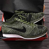 Мужские кроссовки Nike flyknit racer green. Живое фото. Топ качество! (Реплика ААА+)