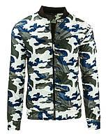 Модная мужская  переходная  куртка в стиле милитари на молнии камуфляж белый  L