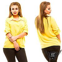Женская рубашка с коротким рукавом, большого размера, цвета бордовая, желтая, синяя другие цвета