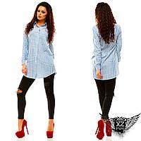Удлиненная женская рубашка хлопковая с принтами полоска и веточки, все размеры, разные цвета