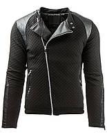 Куртка мужская стеганая с ассиметричной застежкой и красивой отделкой эко кожей черный  L