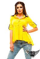 Блуза с цветным воротником рубашка рукава на пуговичках, цвета белая, пудра, желтая, мятная, все размеры