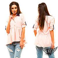 Блуза с цветным воротником рубашка рукава на пуговичках, цвета бежевая, бутылка, синяя, красная, все размеры