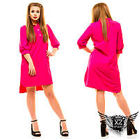 Платье-рубашка до колен и короткий рукав большого размера, цвета малиновая, электрик, зеленая, другие цвета