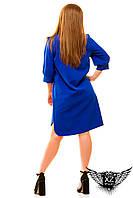 Платье-рубашка до колен и короткий рукав большого размера, цвета синяя, зеленая, мятная, красная, другие цвета