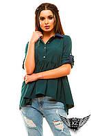 Блуза с цветным воротником рубашка рукава на пуговичках, цвета бутылка, синяя, красная, пудра, все размеры
