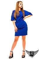 Платье с рукавом по локоть  до колен, большого размера, цвета синие, мятное, другие цвета