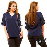 Блуза большой размер  с V-образной горловиной, цвета розовая, зеленая, мятная, белая, другие цвета