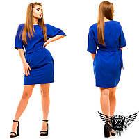 Платье с рукавом по локоть  до колен, большого размера, цвета красное, мятное, электрик, другие цвета