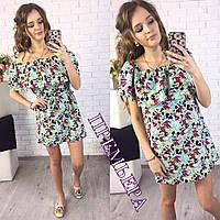 """Женское шикарное платье с воланом и поясом """"Принт"""" (4 цвета)"""