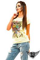 """Женская футболка с рисунком """"Paris"""", цвета белая, мята, желтая,все размеры"""