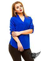 Блуза большой размер  с V-образной горловиной, цвета красная, мятная, желтая, синяя, бирюзовая, другие цвета