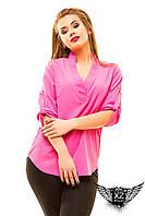 Блуза большой размер  с V-образной горловиной, цвета зеленая, тёмно-синяя, пудра, мята, белая, другие цвета