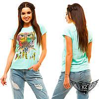 """Женская футболка с рисунком """"Сова"""", цвета белая, мята, желтая, черная, пудра, все размеры"""