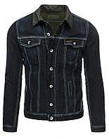 Мужская куртка джинсовая со стилизованными легкими потертостями и контрастной строчкой черный  размер M tx1162