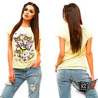 "Женская футболка с рисунком ""Енот"", цвета белая, мята, желтая, черная, пудра, все размеры"
