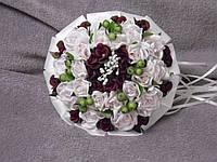 Свадебный букет-дублер из роз розовый с бордовым