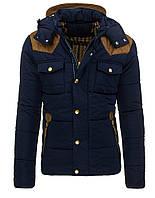 Мужская зимняя куртка со съёмным капюшоном и модными вставками и заплатами на ракавах темно-синий M