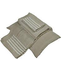 Льняное постельное белье 160х220х2 серое с полосками