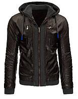 Куртка мужская демисезонная кожанная с капюшоном и подкладкой имитирующей мех коричневый  XXL