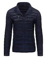 Легкая и теплая мужская стеганая курткатемно-синий M