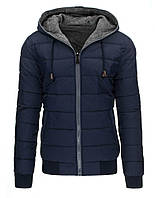 Двусторонняя мужская зимняя куртка большого размера с капюшоном  темно-синий  xxXL