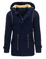 Куртка парка мужская зимняя c капюшоном, удлиненная с регулировочным шнурком по линии талии темно-синий  XXL