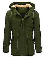 Мужская удлиненная зимняя куртка парка большого размера с капюшоном с регулировкой по талии  оливковый  xxXL