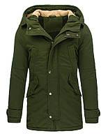 Мужская зимняя куртка парка с капюшоном,  удлиненная сзади оливковый  XL