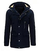 Куртка парка мужская зимняя со съемным капюшоном  и регулировкой ширины по линии талии темно-синий  XXL